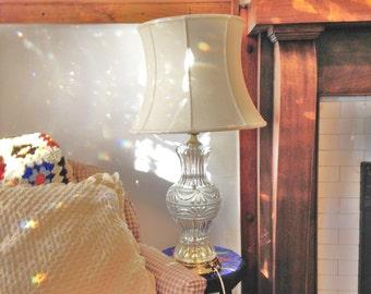 Crystal Table Lamp Cut Crystal Lamp Vintage 70s Table Lamp