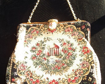 REDUCED Vintage French Pettipoint Evening Bag Fancy Clasp Mint Item #130 Purses