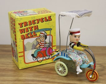 "Vintage Clockwork Wind-Up ""Tricycle With Bell"" Tin Litho Toy - Complete, Works Great, MIB"