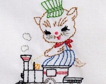 Vintage Kitty Cat with Train Machine Embroidery Design 2 sizes, 4x4 or 5x7 colorwork linework, INSTANT DOWNLOAD. girl, toddler, baby