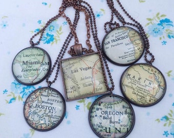 Custom Map Jewelry,  Going Away Necklace,  Travel map Gift Destination Charm, Personalized Map Pendant,  Traveler Necklace Location