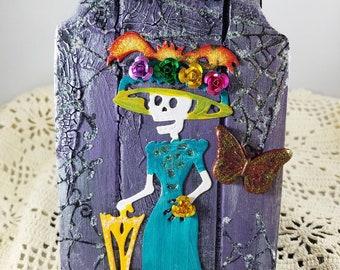 Mixed Media Art, Miniature Wall Art, Catrina, Dia de los Muertos, Purple Tombstone, Catrina with Metal Roses, Butterfly, Birthday Gift