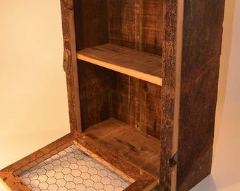 Drop Down Chicken Wire Barn Wood Display Country Cabinet