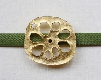 "OBIDOME  ""Lotus Root"" Obi Brooch with Obijime cord Japanese kimono accessory tin casting"