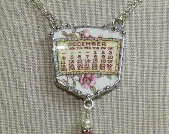 December 1921 Calendar Plate Broken China Jewelry Necklace with Month and Flowers
