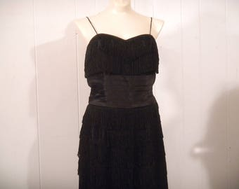 Vintage dress, 1960s dress, fringe dress, Art Deco dress, Flapper dress, vintage clothing, small