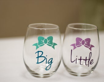 Big sister, Little sister Sorority stemless wine glasses, Bow/Ribbon with wording. Sorority gift idea. Teal, Mint, Lilac, Plum. Rush week.