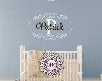 Initial and Name Monogram Wall Decal with Elegant Shabby Chic Frame Accents and Polka Dots - Nursery Girl or Boy Vinyl Monogram FN0611