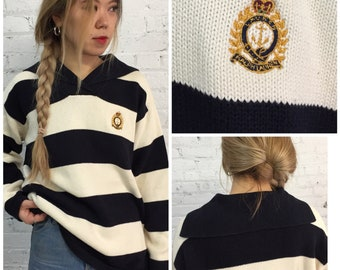 vintage Ralph Lauren shawl collar rugby sweater / oversized preppy nautical sweater