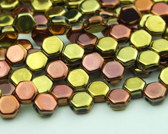 30x Czech Honeycomb Beads 6mm Hexagonal 2 Hole Jet Calif Gold