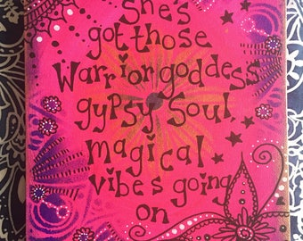 Pink and purple magical canvas, art painting, positivity quote wall art