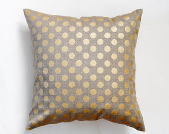 2 Linen pillow covers with gold print dots - decorative covers - shams - throw pillows - polka dot pattern- 18x18   0093