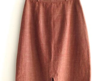 Xiao Studio Burnt Orange Linen Skirt