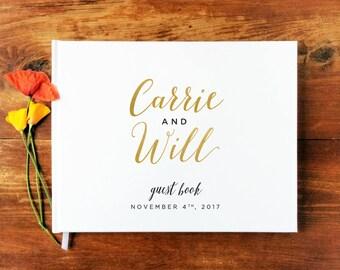 Wedding Guest Book Landscape #9 - Hardcover - Wedding Guestbook, Custom Guest Book, Personalized Guest Book - Gold Calligraphy