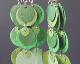 Paper Earrings in Summertime Greens