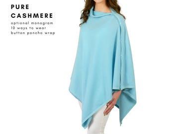 Aqua blue pure cashmere multi-ways poncho travel wrap in gift box