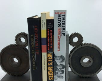 Industrial Bookends - Gear Bookends