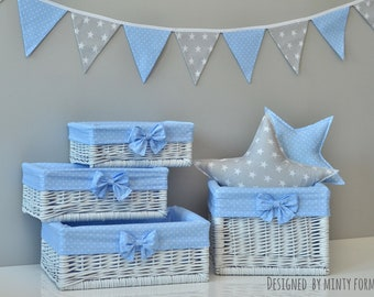 Wicker Basket With Cotton Lining With Bow Blue Gray Storage Baskets Bin  Toys Diaper Size S M L XL Baby Nursery