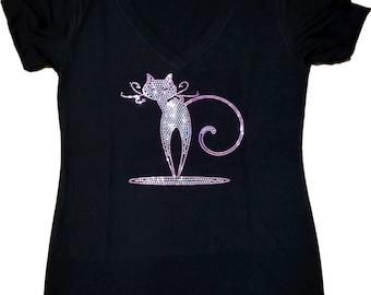 Bling Cat Tank Top Sequins i love cats woman kitty glitter Shirt