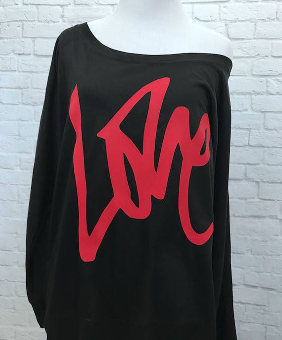 Love Valentines Day Flowy off the Shoulder Long Sleeve T-shirt