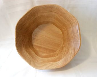 Handcrafted, Hickory wood, wavy bowl made with a scroll saw
