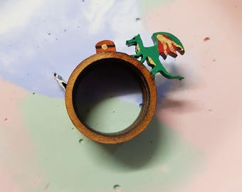 Dragon and adventurer ring trio- coloured