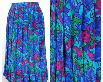Vintage 80's Skirt Knee Length Accordion Pleat Elastic Waist Bright UK16/18 EU46