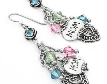 Mom Earrings, Mother Birthstone Earrings, Crystal Earrings, Mom Charm Earrings, Mother Earring Gift, Dangle Earrings