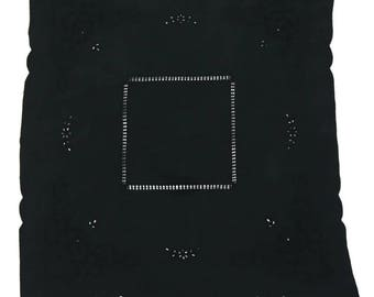 French antique lace cotton small tablecloth/over-dyed black/Hand Embroidery/square/099