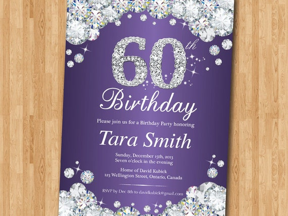 60th birthday invitation rhinestone diamond elegant birthday filmwisefo Choice Image
