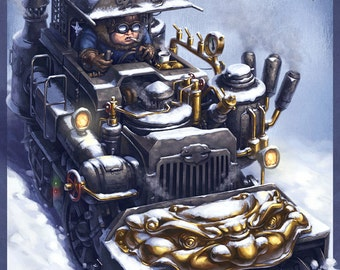 Chimera Snow Blower Chinese Steampunk Print by James Ng