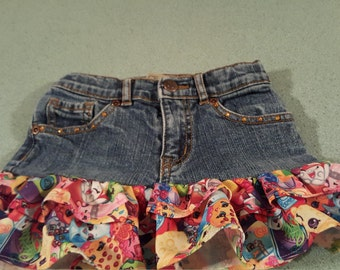 Shopkins Upcycled Blue Jean Skirts