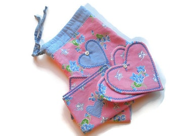 Pink heart cloth napkins and coasters, drawstring bag, repurposed, floral dinner table