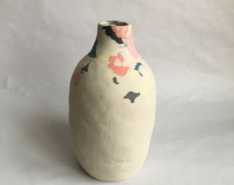 raw colored  stoneware vase