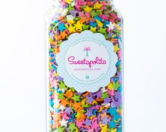 8oz (1 cup) Pastel Star Quin Sprinkles, Gluten-Free, Star Quins, Star Sprinkles, Pastel Sprinkles
