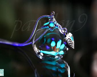 Tiny Dragonfly / GLOW in the DARK / Glass Bubble Pendant / Glow Dragonfly / Dragonfly Heart Necklace /