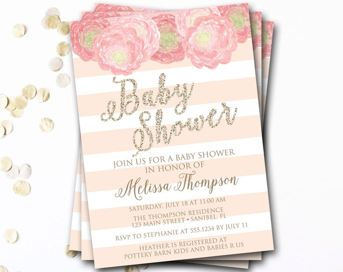 Pink And Gold Baby Shower Invitation, Pink And Gold Invitation, Pink And Gold Invite, Glitter Baby Shower Invitation, DIY Printable
