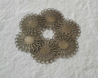 SALE - Antique Bronze Filigree Wraps or Cabochon Trays - 37 mm - Sets of 6