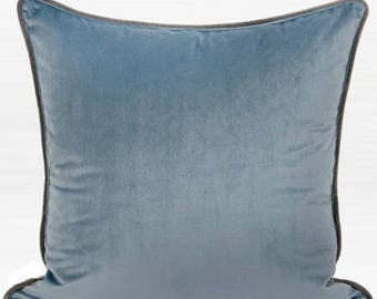 """Luxury Steel Blue Solid Color Flannel Fabric Pillow 20""""X20"""""""