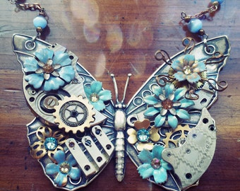 Steampunk Butterfly Necklace - Sky Blue Enamel Flowers with Gold and Silver Gears - Large Butterfly Necklace