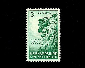 10 New Hampshire -Free Shipping - Pack of (10) - New Hampshire - Vintage Unused U.S. Postage Stamps - Post Office Fresh!