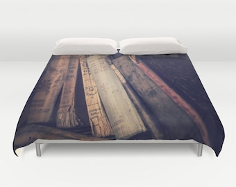 Old Books Duvet Cover, Book Decorative bedding, unique design, Book comforter cover, Dorm bedroom,Antique Book Bedding, Vintage Book bedding