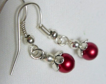Pearl Earrings - 6mm cranberry Red Pearls - Wedding Earrings - bridesmaids earrings -silver Plated caps and beads and ear hooks