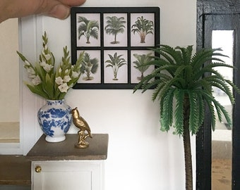 Miniature framed wall art - vintage palms - Dollhouse - Diorama - Roombox - 1:12 scale