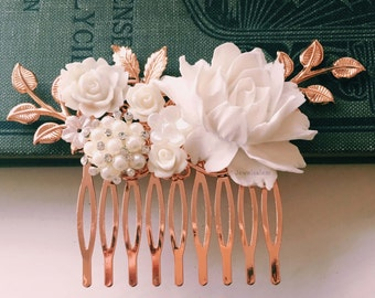 Rose Gold Wedding Comb, White Flower, Leaf, Bridal Hair Pin, Rhinestones, Pearl, Romantic Hair Slide, Bridesmaids Hair Clip