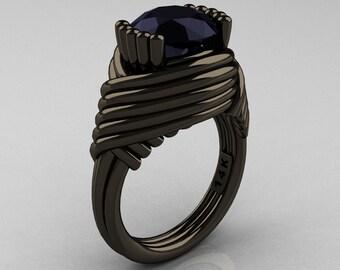 Modern Antique 14K Black Gold 3.0 Carat Black Onyx Wedding Ring R211-14KBGBO