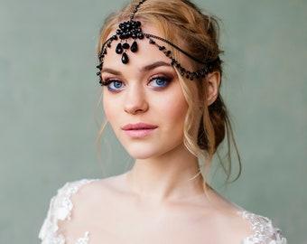 Great Gatsby Headpiece Bridal Hair jewelry forehead band Bridal Black head chain Headband Chain Headpiece Prom hair accessory 1920s crown