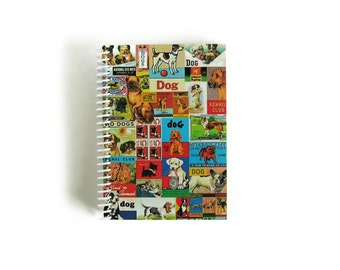 Dogs Notebook A6 Spiral Bound - Cute Blank Sketchbook, Writing Journal, Diary, Back to School, 4x6 Inches, Pocket, Pretty Gifts Under 20