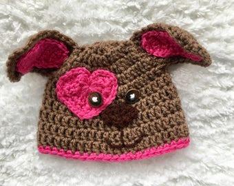 Puppy Dog hat, Crochet puppy Dog Hat, Newborn Photo Prop, Girl Hat, Baby shower gift, hot pink puppy dog Hat, puppy dog themed baby shower