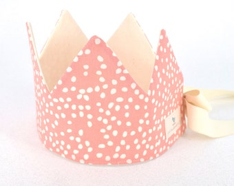 Organic Fabric Crown,  Adjustable,  Firefly Dots Pink,  Ages 1 - 5